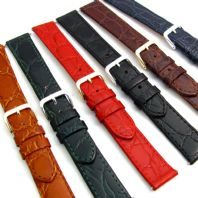Genuine Flat Calf Leather Watch Strap Crocodile Croc Grain 16mm 18mm 20mm D007